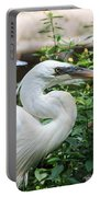 Flamingo Gardens - Great Egret Profile Portable Battery Charger