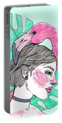 Flamingo Girl Portable Battery Charger