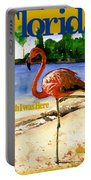 Flamingo In Florida Shirt Portable Battery Charger