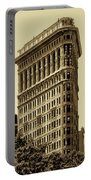 Flatiron Building In Sepia Portable Battery Charger