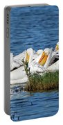 Flock Of White Pelicans Portable Battery Charger