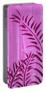 Flora Fauna Tropical Abstract Leaves Painting Magenta Splash By Megan Duncanson Portable Battery Charger
