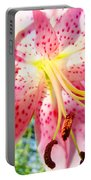 Floral Art Print Pink Summer Lily Flower Lilies Baslee Troutman Portable Battery Charger