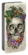 Floral Beard Skull Portable Battery Charger