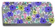 Floral Burst Of Blue Portable Battery Charger