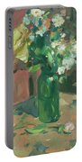 Floral Green Vase Portable Battery Charger