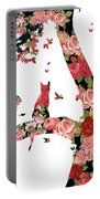 Floral Minimalist Style Cat, Tree And Birds Portable Battery Charger