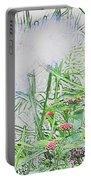 Floral Sketch Portable Battery Charger