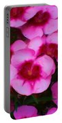Floral Study In Red And Pink Portable Battery Charger