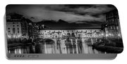 Florence Ponte Vecchio At Sunset Monochrome Portable Battery Charger