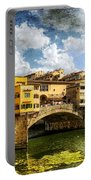 Florence -  Ponte Vecchio From The Northwestern Bank - Vintage Portable Battery Charger