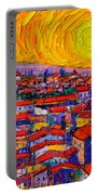 Florence Sunset 10 Modern Impressionist Abstract City Knife Oil Painting Ana Maria Edulescu Portable Battery Charger
