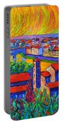 Florence Sunset 4 Modern Impressionist Abstract City Impasto Knife Oil Painting Ana Maria Edulescu Portable Battery Charger