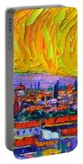 Florence Sunset 5 Modern Impressionist Abstract City Impasto Knife Oil Painting Ana Maria Edulescu Portable Battery Charger