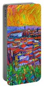 Florence Sunset 7 Modern Impressionist Abstract City Impasto Knife Oil Painting Ana Maria Edulescu Portable Battery Charger