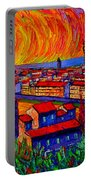 Florence Sunset 9 Modern Impressionist Abstract City Impasto Knife Oil Painting Ana Maria Edulescu Portable Battery Charger