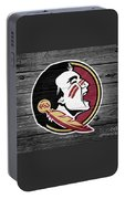 Florida State University Seminoles Logo On Weathered Wood Portable Battery Charger