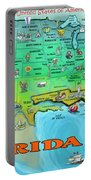 Florida Usa Cartoon Map Portable Battery Charger
