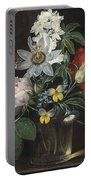 Flower And A Delphinium In A Glass Vase Portable Battery Charger