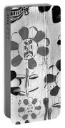 Flower Face Mural B W  Portable Battery Charger