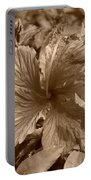 Flower In Sepia Portable Battery Charger