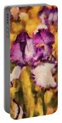 Flower - Iris - Diafragma Violeta Portable Battery Charger