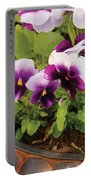 Flower - Pansy - Purple Pansies Portable Battery Charger