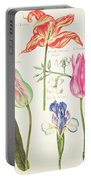 Flower Studies  Tulips And Blue Iris  Portable Battery Charger