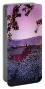 Flowering Apple Trees, Distant Barn Portable Battery Charger