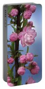 Flowering Pink On Blue Portable Battery Charger