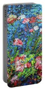 Flowering Shrub In Pink On Bright Blue 201676 Portable Battery Charger