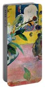 Flowers And A Japanese Print Portable Battery Charger by Paul Gauguin