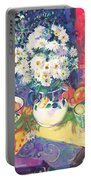 Flowers And Fruit In A Green Bowl Portable Battery Charger