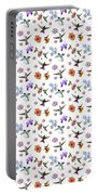 Flowers And Hummingbirds 1 Portable Battery Charger by Rachel Lee Young