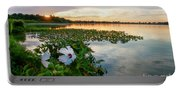 Flowers At Sunset Portable Battery Charger