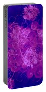 Flowers, Buttons And Ribbons -shades Of  Blue To Fuchsia Portable Battery Charger