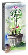 Flowers By The Pool Portable Battery Charger
