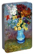 Flowers In A Blue Vase  Portable Battery Charger