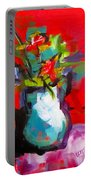Flowers In Blue Green Pitcher Portable Battery Charger