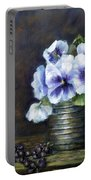 Flowers,pansies Still Life Portable Battery Charger by Katalin Luczay