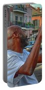 Flute Musician In New Orleans Portable Battery Charger