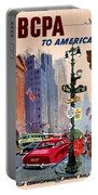 Fly Bcpa To America Vintage Poster Restored Portable Battery Charger