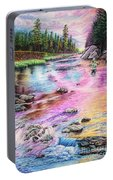 Fly Fishing In River At Sunrise Portable Battery Charger