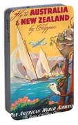 Fly To Australia And New Zealand, Airline Poster Portable Battery Charger