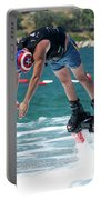 Flyboarder Bending Over To Dive Into Water Portable Battery Charger