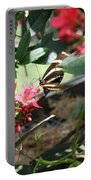 Focus In The Center - Black And White Butterfly Portable Battery Charger