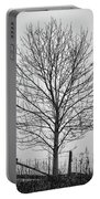 Foggy Lone Tree Hill Fine Art Portable Battery Charger