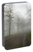 Foggy Morning At The Park Winding Path Portable Battery Charger