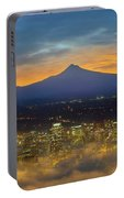 Foggy Portland City Downtown At Dawn Portable Battery Charger