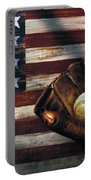 Folk Art American Flag And Baseball Mitt Portable Battery Charger by Garry Gay